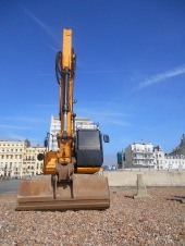 Big digger on Brighton Beach
