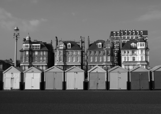 Much-photographed for their colours, these Victorian houses and beach huts also look great in monochrome!