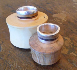 Handmade wedding rings with their boxes