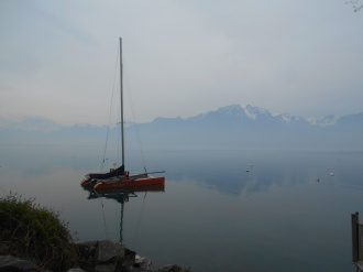 Sailboat and mountains